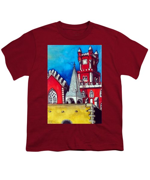 Youth T-Shirt featuring the painting Pena Palace In Portugal by Dora Hathazi Mendes