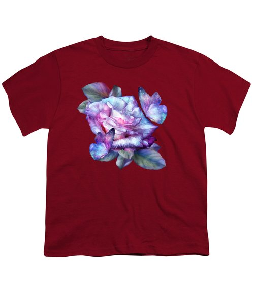 Purple Rose And Butterflies Youth T-Shirt by Carol Cavalaris