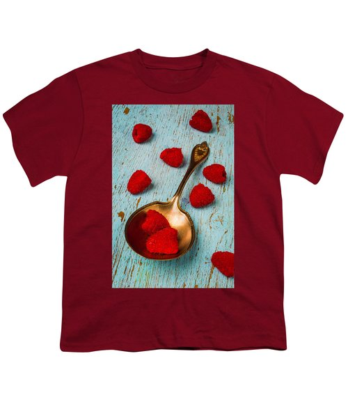 Raspberries With Antique Spoon Youth T-Shirt by Garry Gay