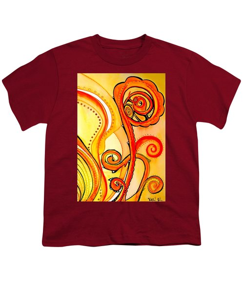 Youth T-Shirt featuring the painting Sunny Flower - Art By Dora Hathazi Mendes by Dora Hathazi Mendes