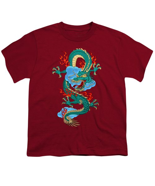 The Great Dragon Spirits - Turquoise Dragon On Red Silk Youth T-Shirt