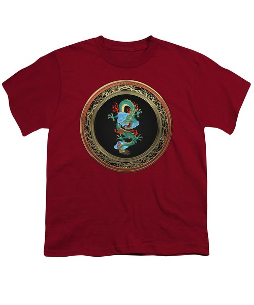 Treasure Trove - Turquoise Dragon Over Red Velvet Youth T-Shirt by Serge Averbukh