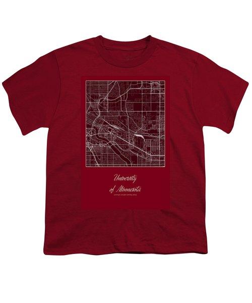 U Of M Street Map - University Of Minnesota Minneapolis Map Youth T-Shirt by Jurq Studio