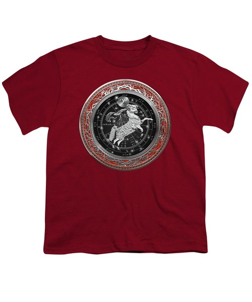 Western Zodiac - Silver Aries -the Ram On Red Velvet Youth T-Shirt