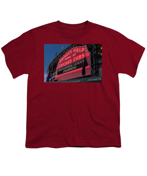 Wrigley Field Marquee Cubs National League Champs 2016 Youth T-Shirt by Steve Gadomski