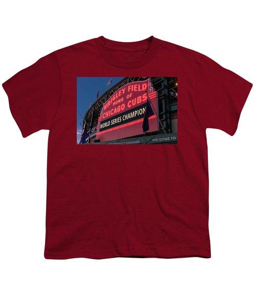 Wrigley Field World Series Marquee Youth T-Shirt by Steve Gadomski