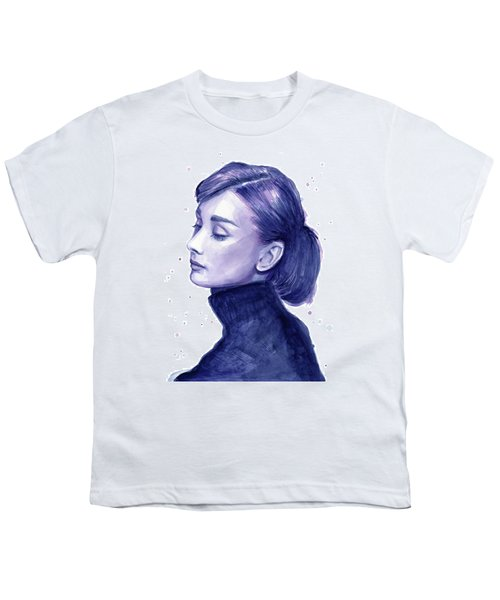 Audrey Hepburn Portrait Youth T-Shirt by Olga Shvartsur