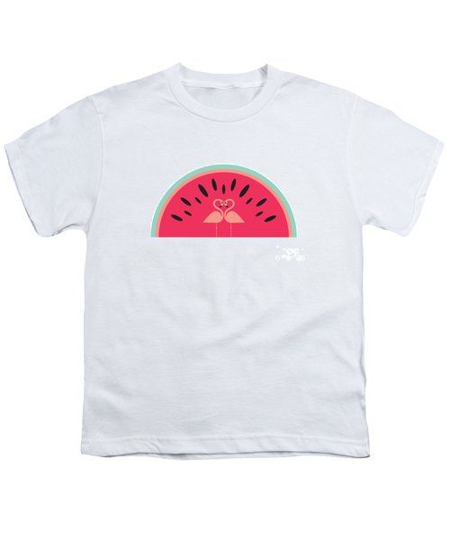 Flamingo Watermelon Youth T-Shirt by Susan Claire