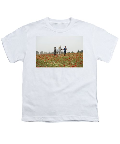 Three At The Poppies' Field... 3 Youth T-Shirt by Dubi Roman
