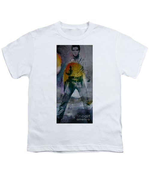 Youth T-Shirt featuring the mixed media Elvis by Marvin Blaine