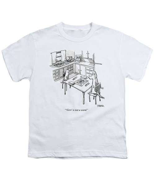 A Cat And Dog Play Scrabble In A Kitchen. 'grrr' Youth T-Shirt