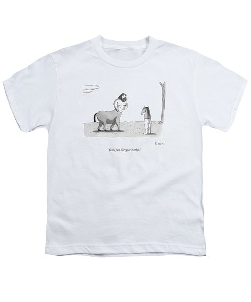 A Centaur Angrily Talks To A Creature Who Youth T-Shirt by Zachary Kanin