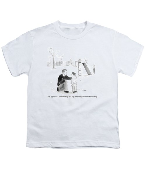 A Father Encourages His Son At The Playground Youth T-Shirt
