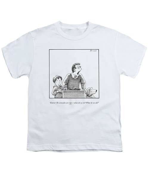 A Father, Son, And Dog All Worry At The Sight Youth T-Shirt