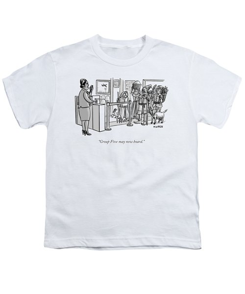 A Flight Attendant About To Board A Group Youth T-Shirt by Peter Kuper