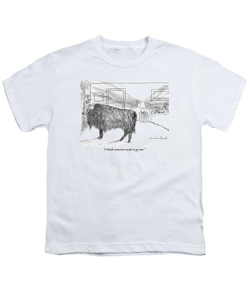 A Large Buffalo Stands Near The Door Youth T-Shirt