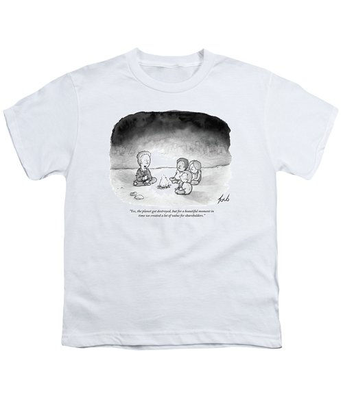 A Man And 3 Children Sit Around A Fire Youth T-Shirt by Tom Toro