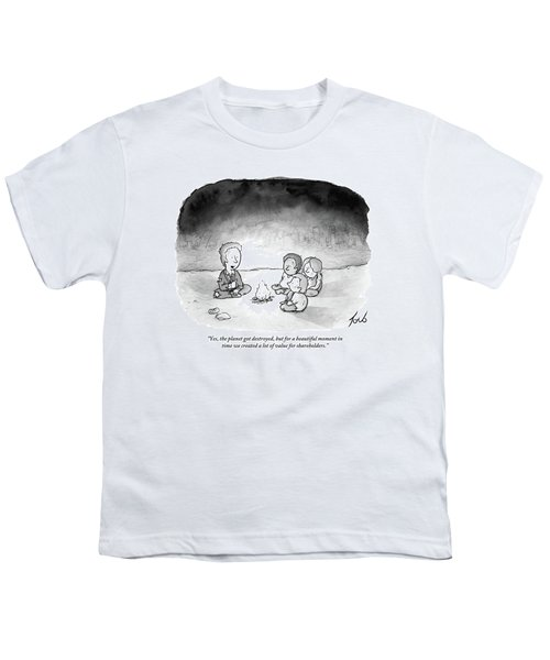 A Man And 3 Children Sit Around A Fire Youth T-Shirt