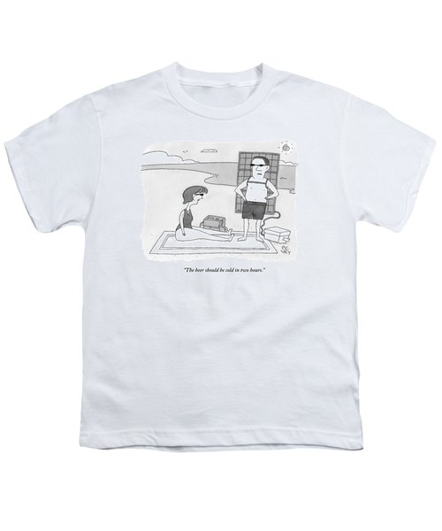 A Man And Woman Stand On A Beach Youth T-Shirt