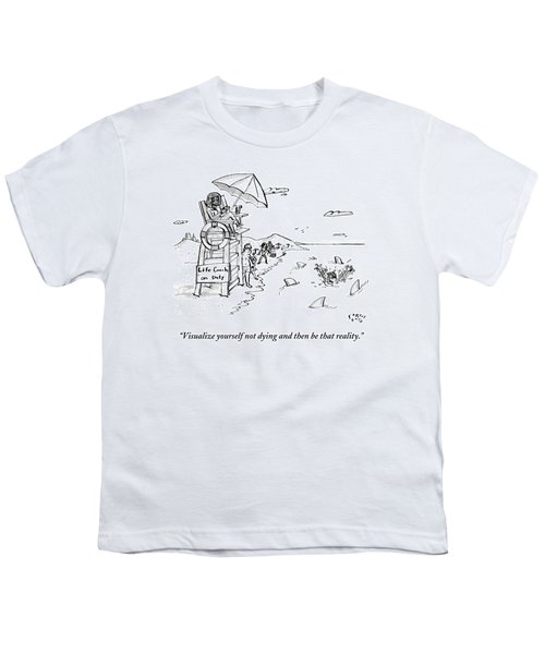 A Man Is Surrounded By Sharks While Swimming Youth T-Shirt