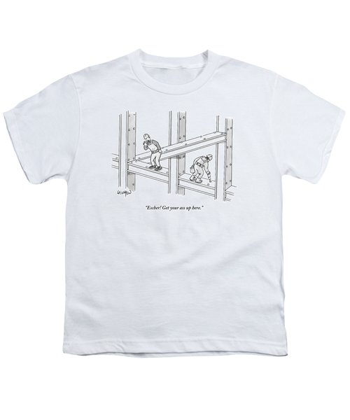 A Men Works On The Sky Scraper  Beams Youth T-Shirt by Robert Leighton