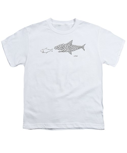 A Shark Is Chased By A School Of Fish That Youth T-Shirt