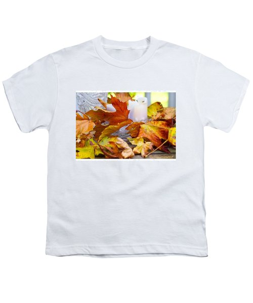 Maple Leaves Candles And Crystal Youth T-Shirt