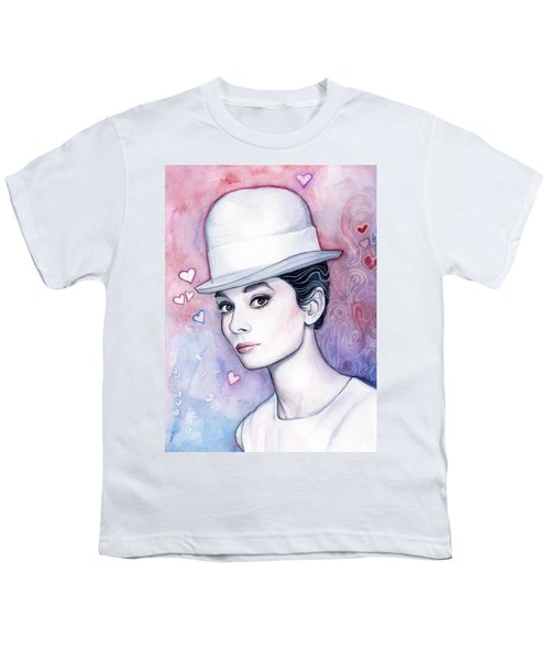 Audrey Hepburn Fashion Watercolor Youth T-Shirt by Olga Shvartsur