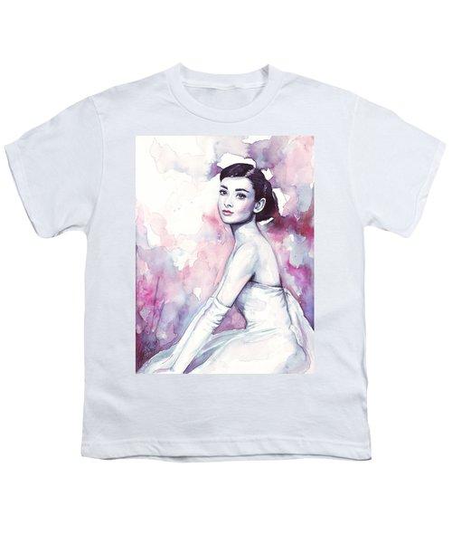 Audrey Hepburn Purple Watercolor Portrait Youth T-Shirt by Olga Shvartsur