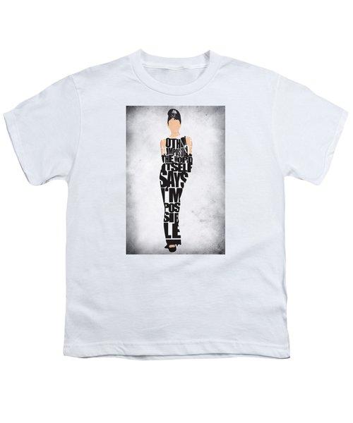 Audrey Hepburn Typography Poster Youth T-Shirt by Ayse Deniz