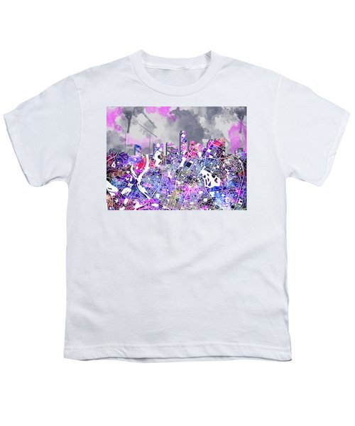 Austin Texas Watercolor Panorama2 Youth T-Shirt by Bekim Art