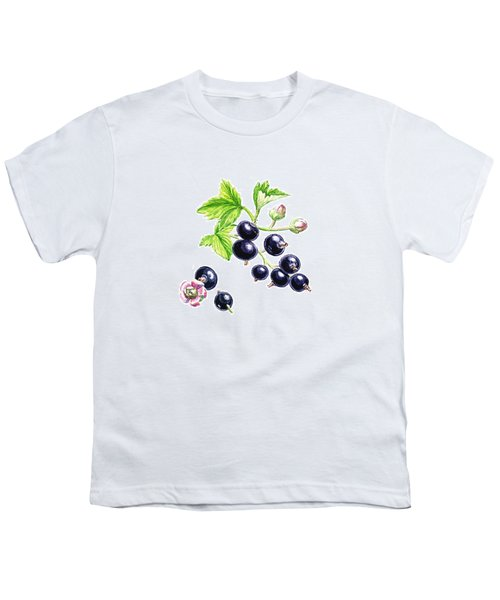 Youth T-Shirt featuring the painting Blackcurrant Botanical Study by Irina Sztukowski