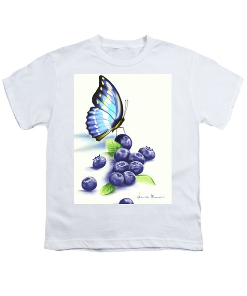 Blueberries And Butterfly Youth T-Shirt