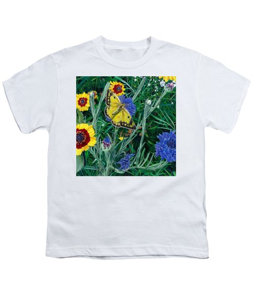 Butterfly And Wildflowers Spring Floral Garden Floral In Green And Yellow - Square Format Image Youth T-Shirt