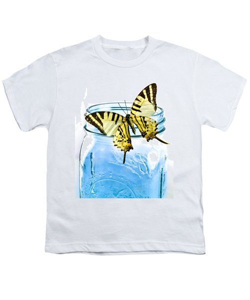 Butterfly On A Blue Jar Youth T-Shirt