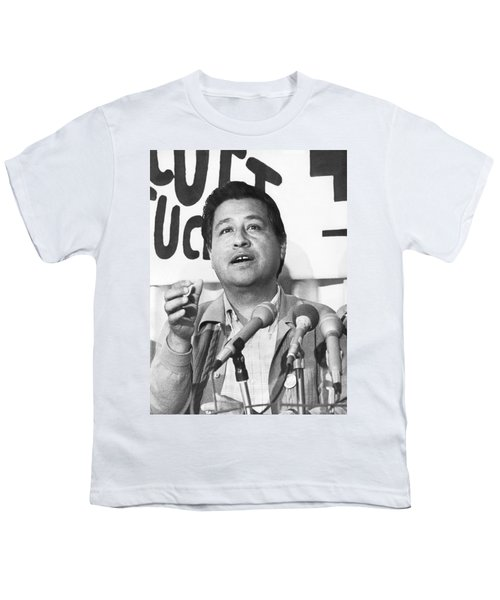 Cesar Chavez Announces Boycott Youth T-Shirt by Underwood Archives