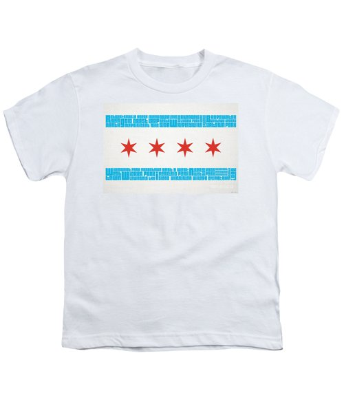Chicago Flag Neighborhoods Youth T-Shirt by Mike Maher