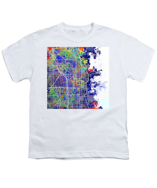 Chicago Map Color Splash Youth T-Shirt