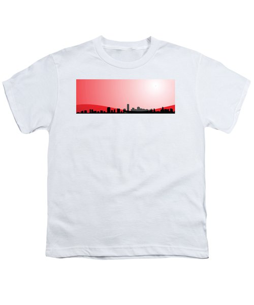 Cityscapes - Miami Skyline In Black On Red Youth T-Shirt by Serge Averbukh