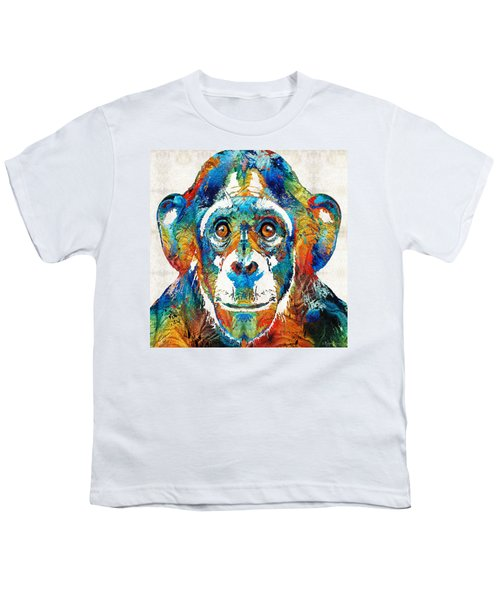 Colorful Chimp Art - Monkey Business - By Sharon Cummings Youth T-Shirt