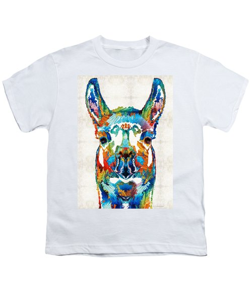 Colorful Llama Art - The Prince - By Sharon Cummings Youth T-Shirt