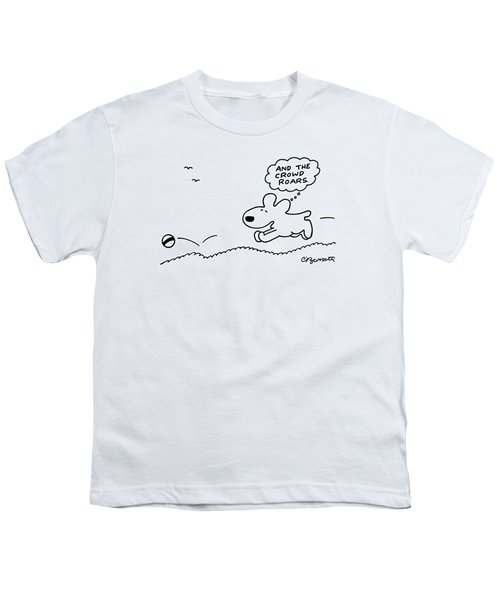 Dog Chases After A Ball Youth T-Shirt by Charles Barsotti