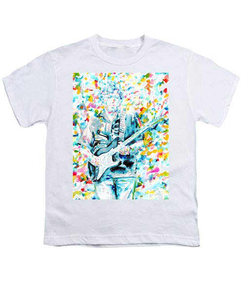 Eric Clapton - Watercolor Portrait Youth T-Shirt by Fabrizio Cassetta