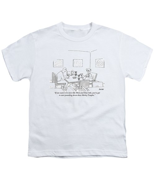Family Around Table Youth T-Shirt by Jack Ziegler