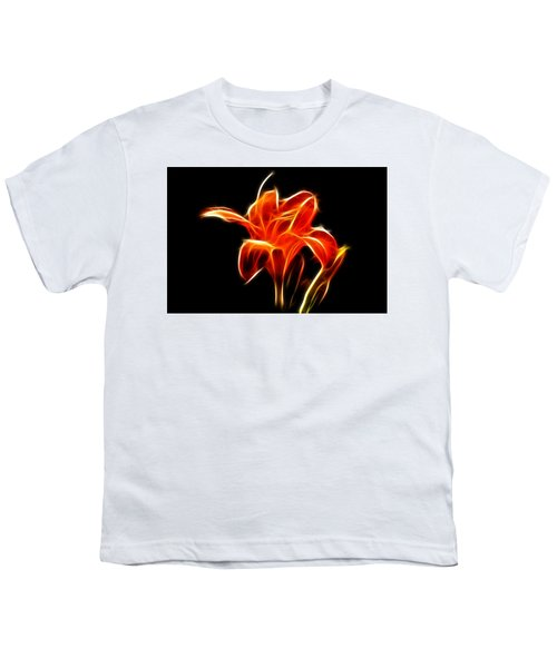 Fractaled Lily Youth T-Shirt by Bill Barber