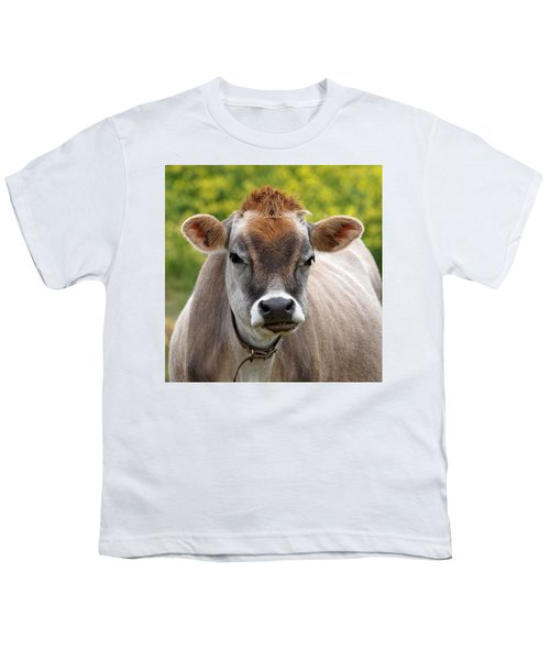 Funny Jersey Cow -square Youth T-Shirt