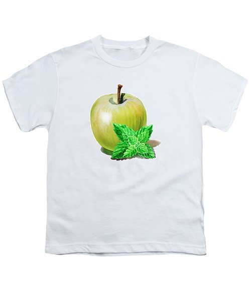 Youth T-Shirt featuring the painting Green Apple And Mint by Irina Sztukowski