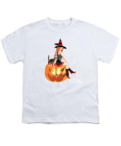 Halloween Witch Nicki With Kitten Youth T-Shirt