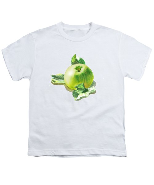 Youth T-Shirt featuring the painting Happy Green Apple by Irina Sztukowski
