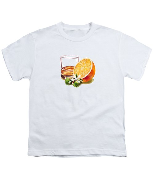 Youth T-Shirt featuring the painting Irish Whiskey And Orange by Irina Sztukowski